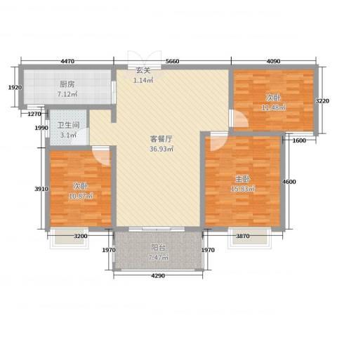 时代茗苑3室2厅1卫1厨116.00㎡户型图