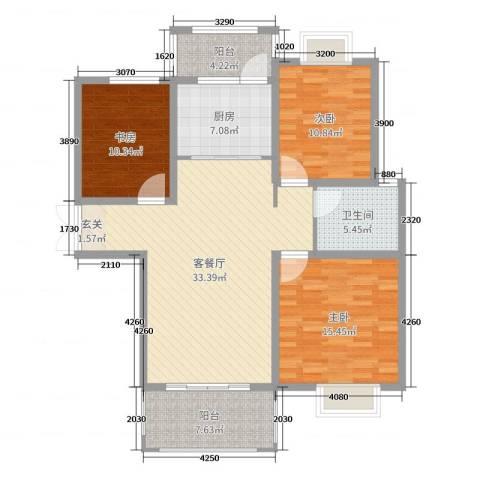 时代茗苑3室2厅1卫1厨115.00㎡户型图