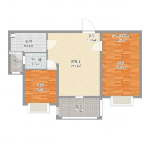 集云文泽府邸2室2厅1卫1厨102.00㎡户型图