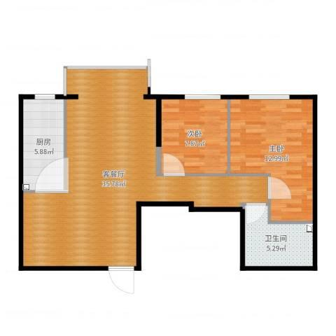 航天城小区2室2厅1卫1厨85.00㎡户型图