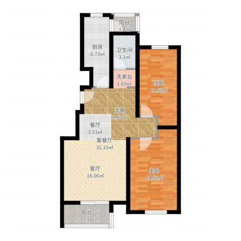 水岸天华2室2厅1卫1厨91.00㎡户型图