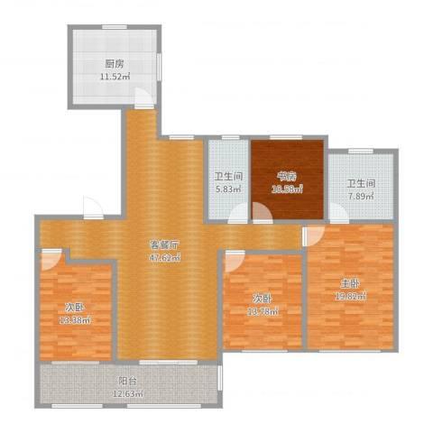 徐州华润绿地・凯旋门4室2厅2卫1厨179.00㎡户型图