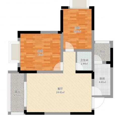 明华龙洲花园2室1厅1卫1厨61.36㎡户型图