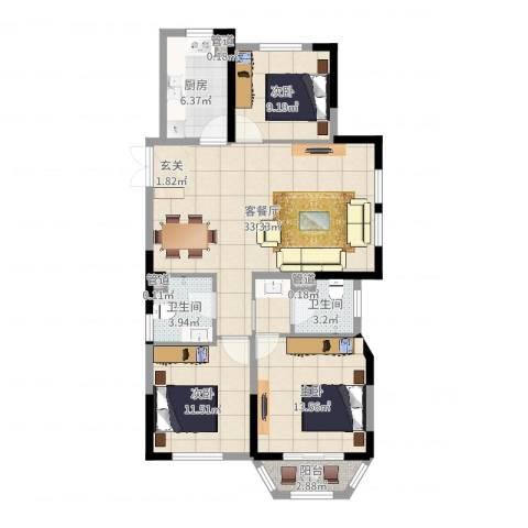 米兰花园3室2厅2卫1厨86.50㎡户型图
