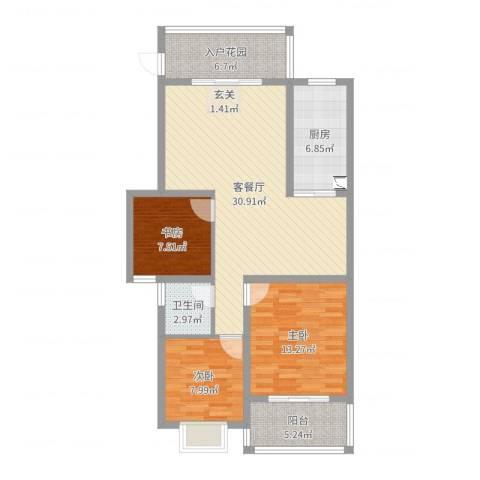 新悦润居3室2厅1卫1厨102.00㎡户型图