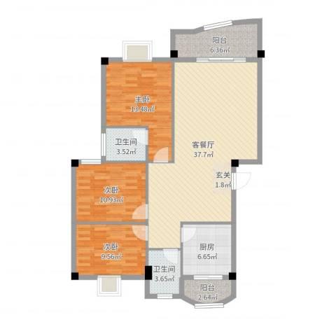 兴业新村3室2厅2卫1厨118.00㎡户型图