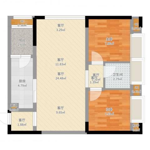 曦圆青岗湾2室3厅1卫1厨69.00㎡户型图