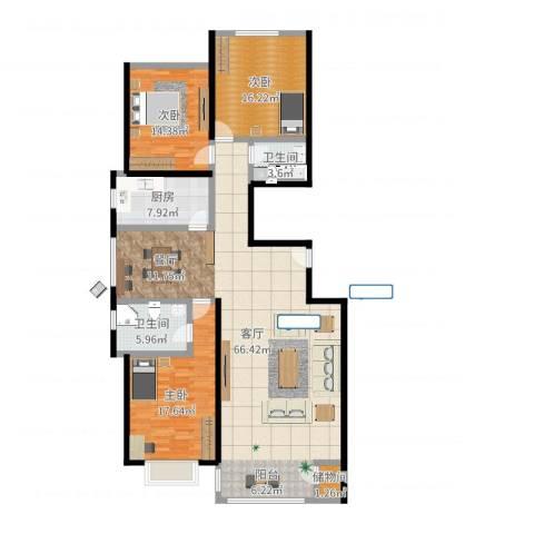 千家和泰・欣家园3室1厅2卫1厨167.00㎡户型图