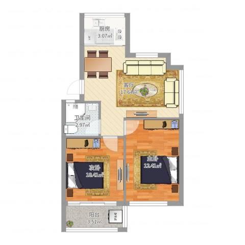 芝兰新城2室1厅1卫1厨63.00㎡户型图