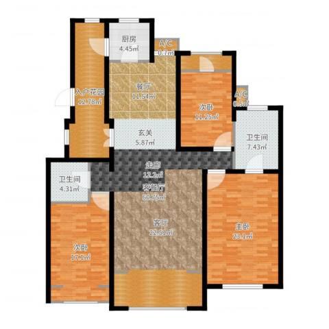 曦城花语3室2厅2卫1厨181.00㎡户型图