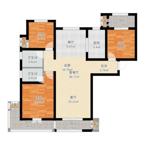 力高阳光海岸3室2厅2卫1厨118.00㎡户型图