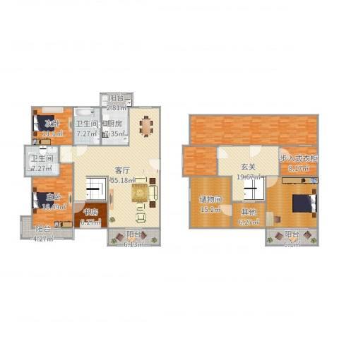 新城明珠3室1厅2卫1厨248.00㎡户型图