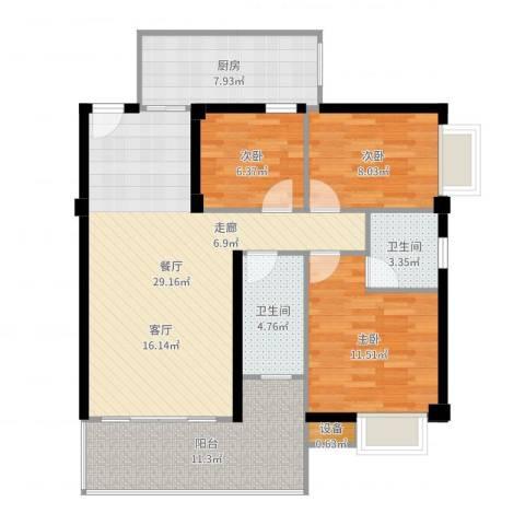 汇景园3室1厅2卫1厨104.00㎡户型图