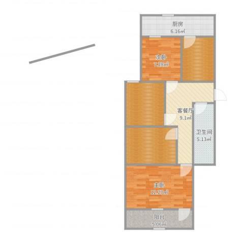 东环花园2室2厅1卫1厨82.00㎡户型图