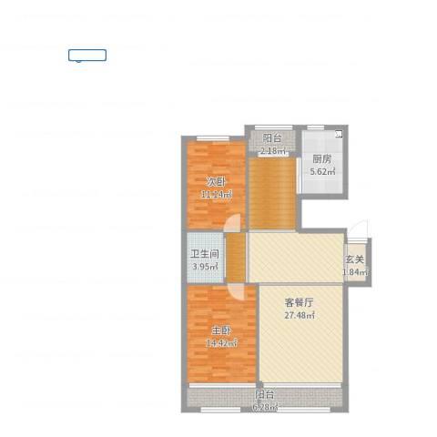 君悦国际城2室2厅1卫1厨103.00㎡户型图