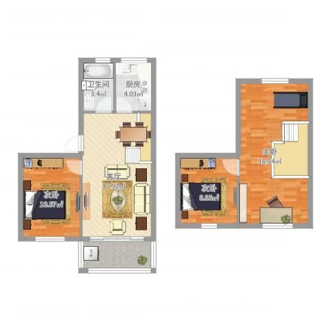 文化家园3室1厅1卫1厨91.00㎡户型图