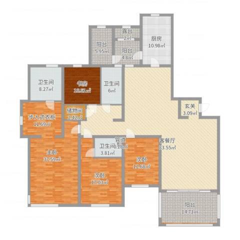 仁恒湖滨城4室2厅3卫1厨257.00㎡户型图