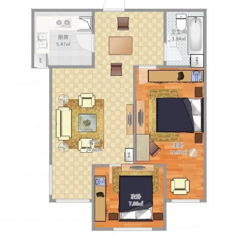 新源燕府2室1厅1卫1厨77.00㎡户型图