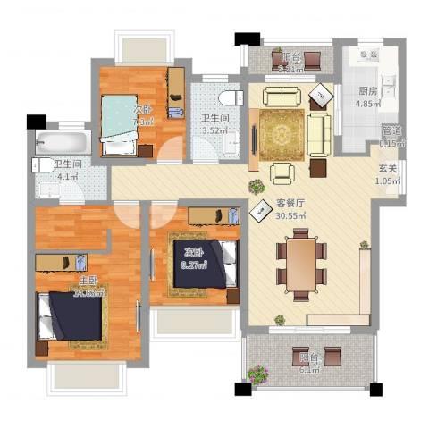 人和华夏城3室2厅2卫1厨102.00㎡户型图