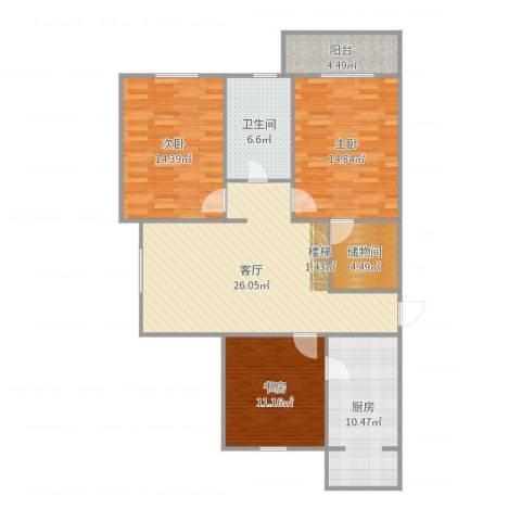 瑞江花园菊苑3室1厅1卫1厨92.49㎡户型图