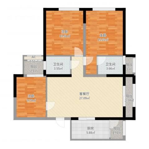 高山流水和城3室2厅2卫1厨108.00㎡户型图