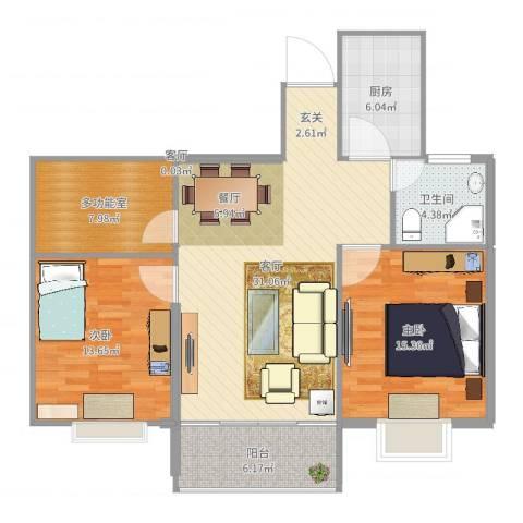 金色阳光城2室2厅1卫1厨106.00㎡户型图