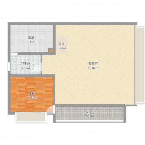 万科金域华府1室2厅1卫1厨110.00㎡户型图