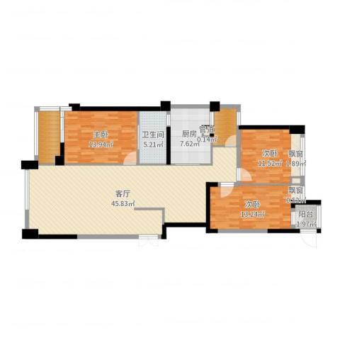 御翠天峯3室1厅1卫1厨134.00㎡户型图