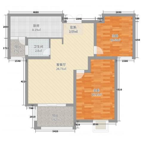 爱涛天岳城2室2厅1卫1厨91.00㎡户型图