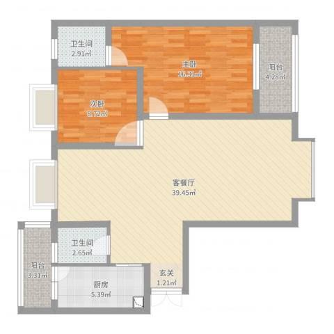 观山湖1号2室2厅2卫1厨104.00㎡户型图