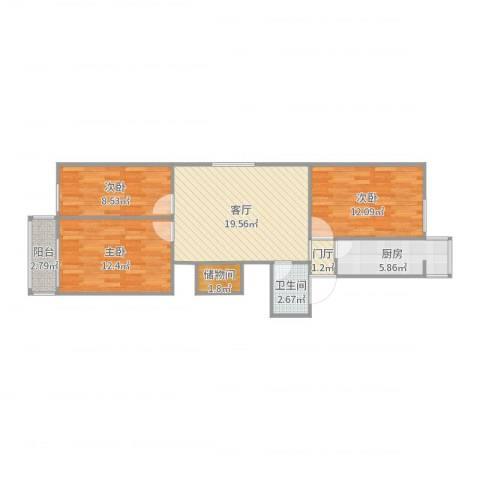 滨河西里北区18号楼3室1厅1卫1厨84.00㎡户型图