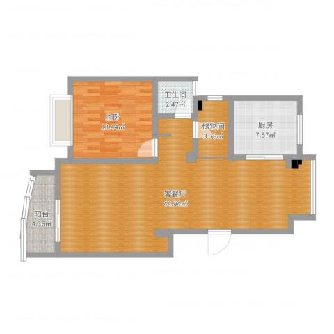 百合苑207#1室2厅1卫1厨96.00㎡户型图