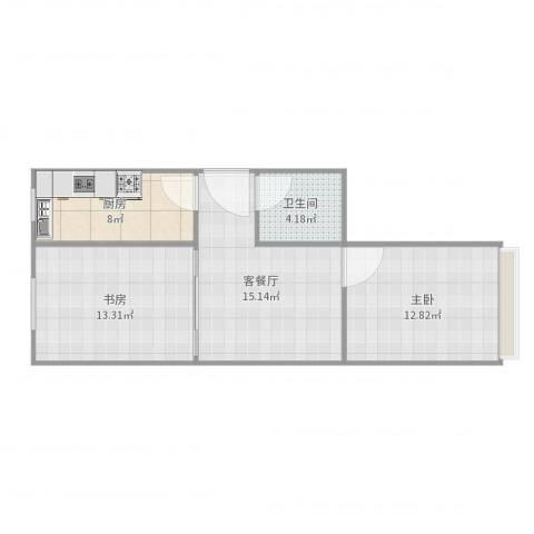 翠微路20号院2室2厅1卫1厨67.00㎡户型图