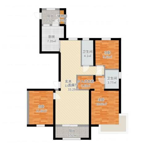御融公馆3室2厅2卫1厨123.00㎡户型图