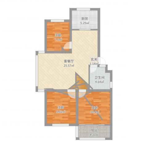 海阳海天景苑3室2厅1卫1厨86.00㎡户型图