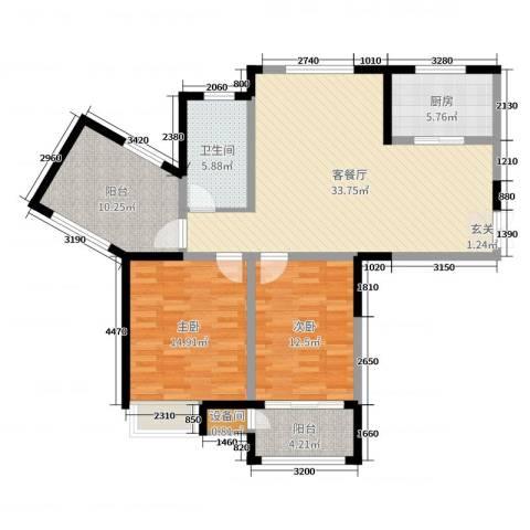 绿洲天逸城2室2厅1卫1厨110.00㎡户型图