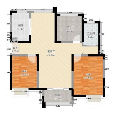绿洲天逸城2室2厅1卫1厨112.00㎡户型图