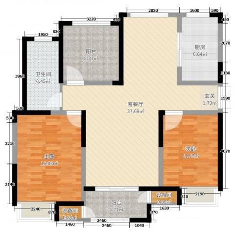 绿洲天逸城2室2厅1卫1厨116.00㎡户型图