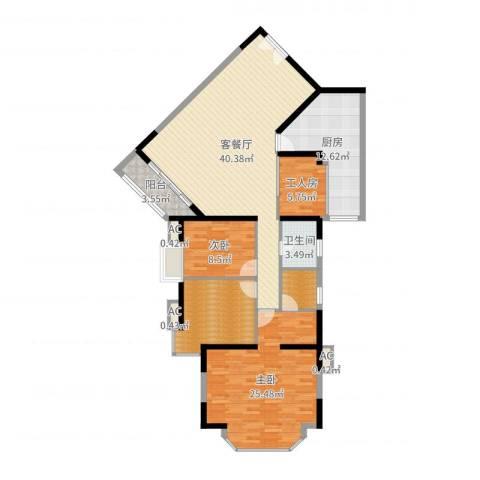 锦城花园2室2厅1卫1厨143.00㎡户型图