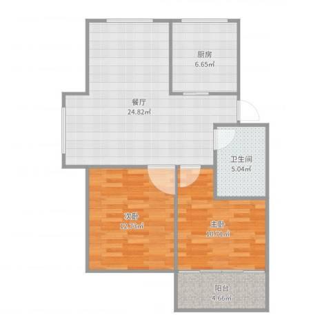 苏江花园2室1厅1卫1厨82.00㎡户型图