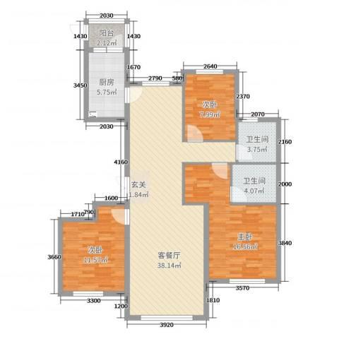 南郡水�天三�3室2厅2卫1厨129.00㎡户型图