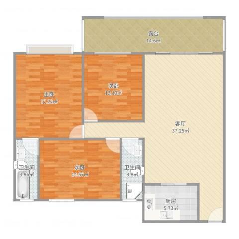 江畔花园3室1厅2卫1厨137.00㎡户型图