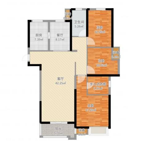 中海世纪公馆3室2厅4卫1厨145.00㎡户型图
