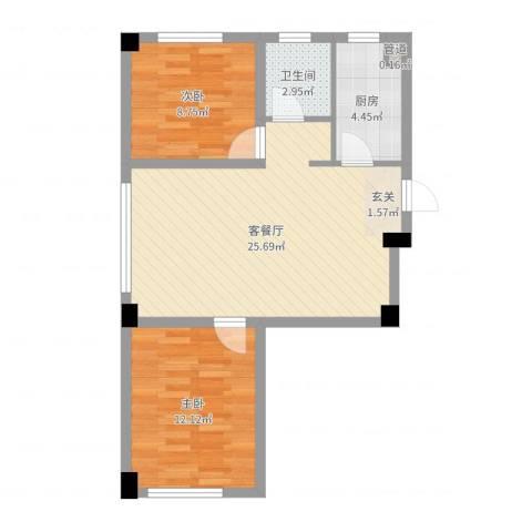 抚顺兴隆摩尔世界2室2厅1卫1厨68.00㎡户型图