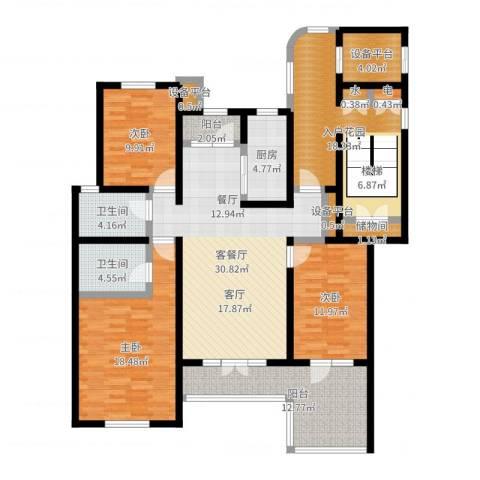 吉宝沁风御庭3室2厅2卫1厨156.00㎡户型图