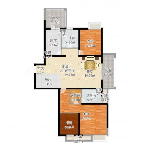 绿地21城A区3室2厅2卫1厨180.00㎡户型图