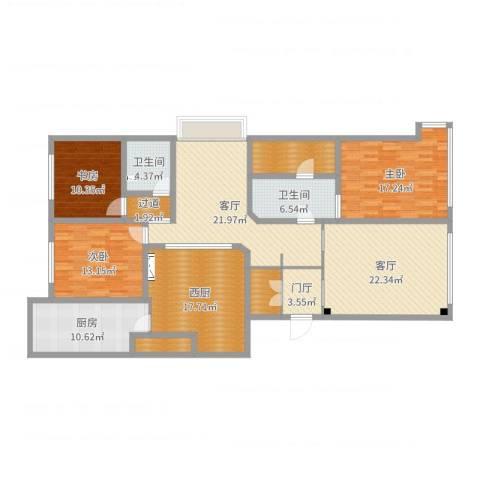 淮海晶华3室2厅2卫1厨174.00㎡户型图