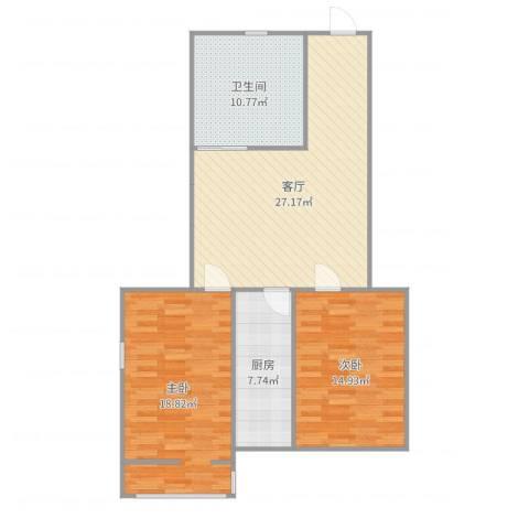 建功北里2室1厅1卫1厨99.00㎡户型图
