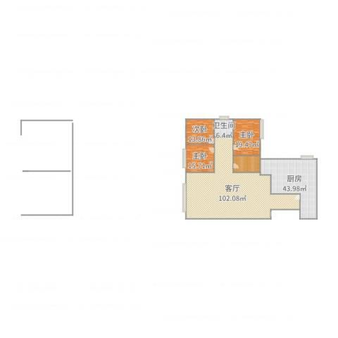 佳地花园3室1厅1卫1厨263.00㎡户型图