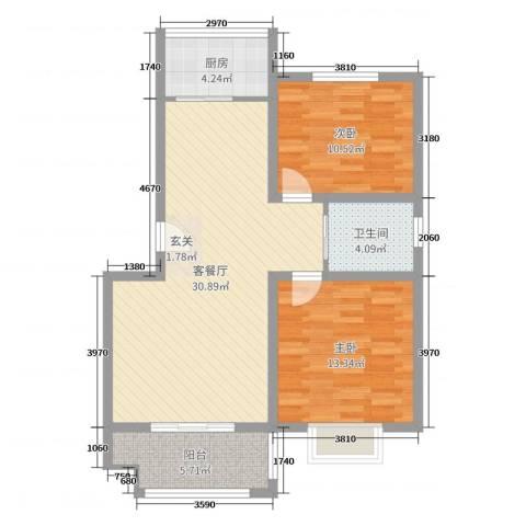 万豪绿城2室2厅1卫1厨86.00㎡户型图